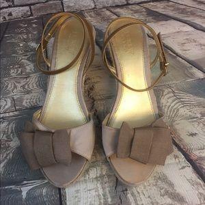 JCrew women's size 10 Tan Wedge Espadrilles Shoes